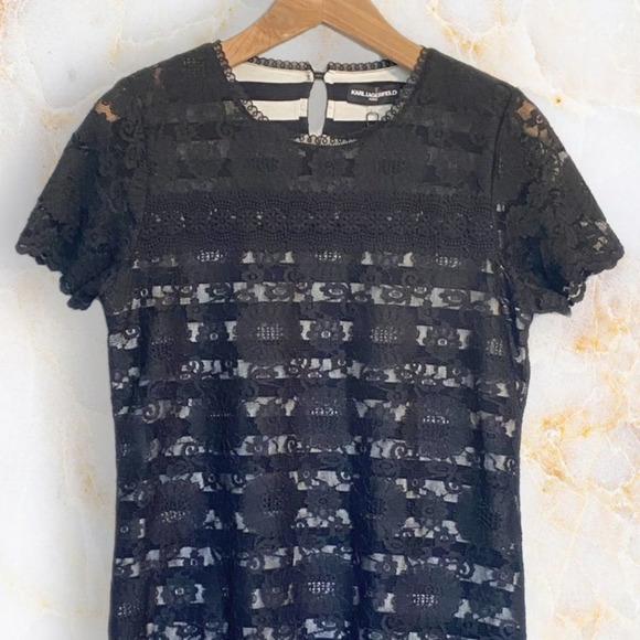 Karl Lagerfeld Paris Lace Stripe Shirt w/Collar M